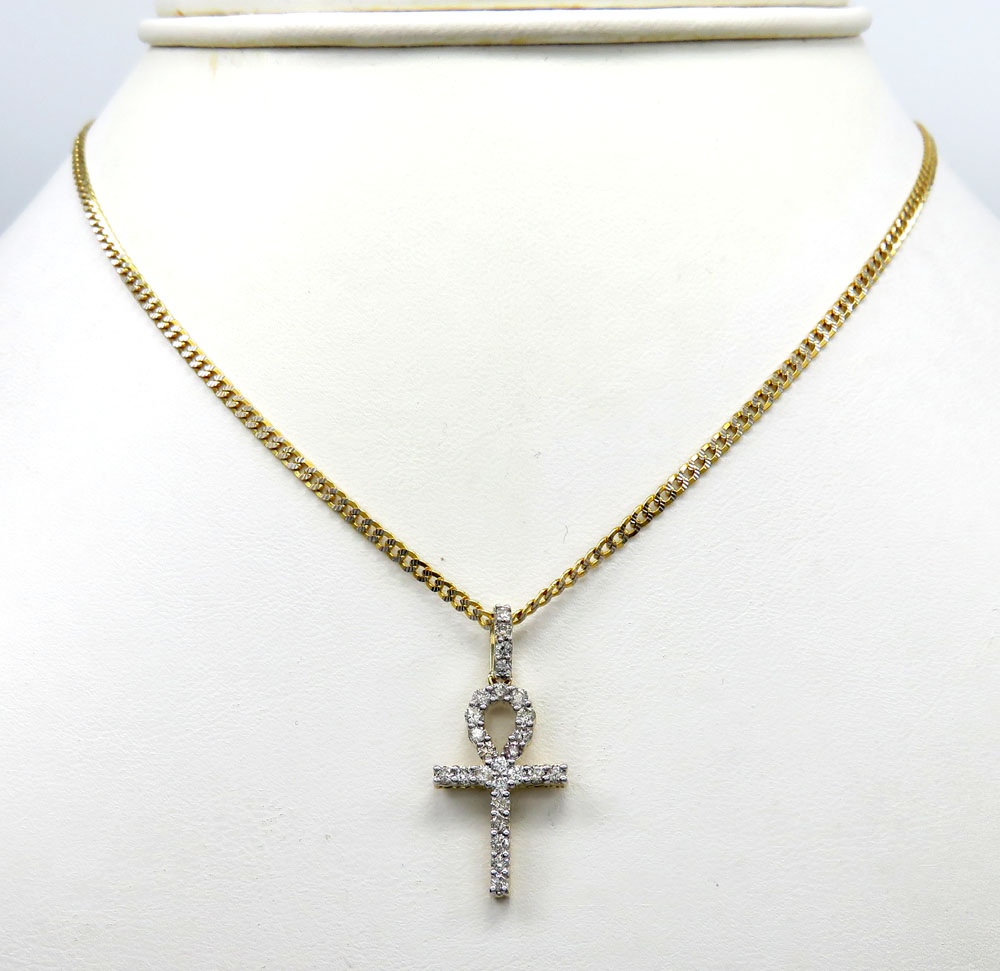 10k yellow gold twenty six diamond mini ankh cross 0.48ct