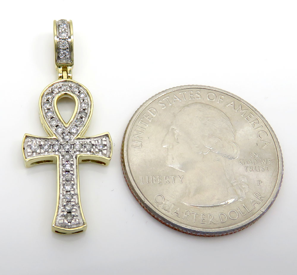 10k yellow gold thirty two diamond mini pave ankh cross 0.34ct