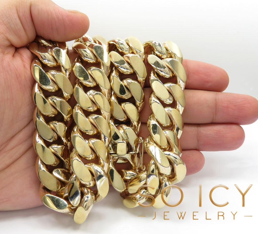 10k yellow gold solid kilo miami chain 30 inch 22mm