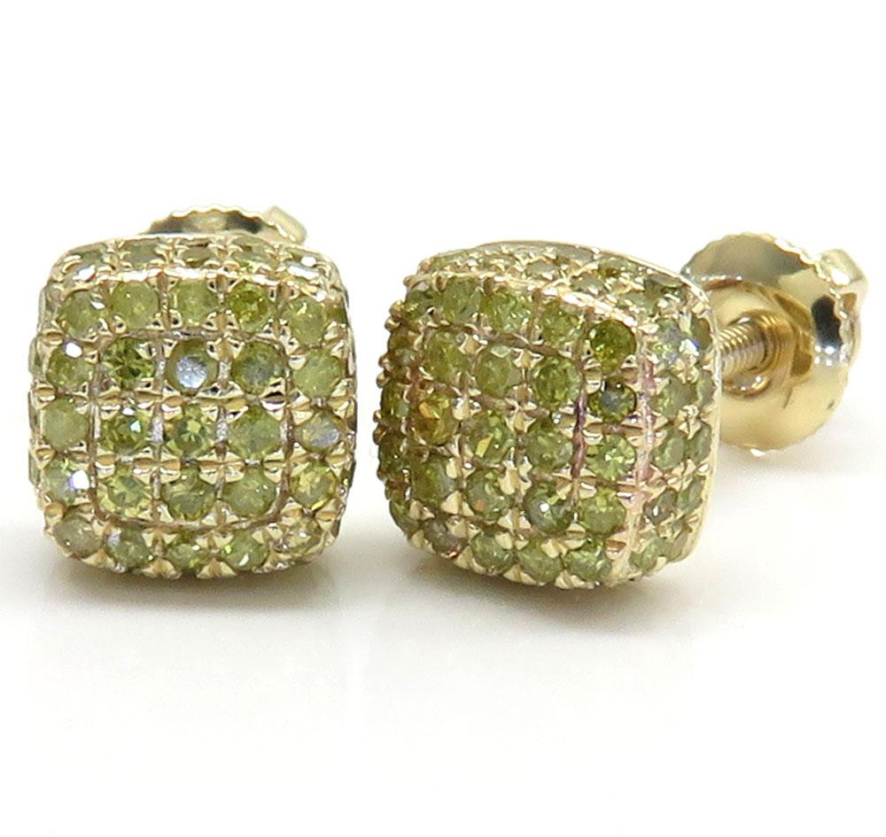 10k yellow gold canary 7 row cube diamond earrings 0.55ct