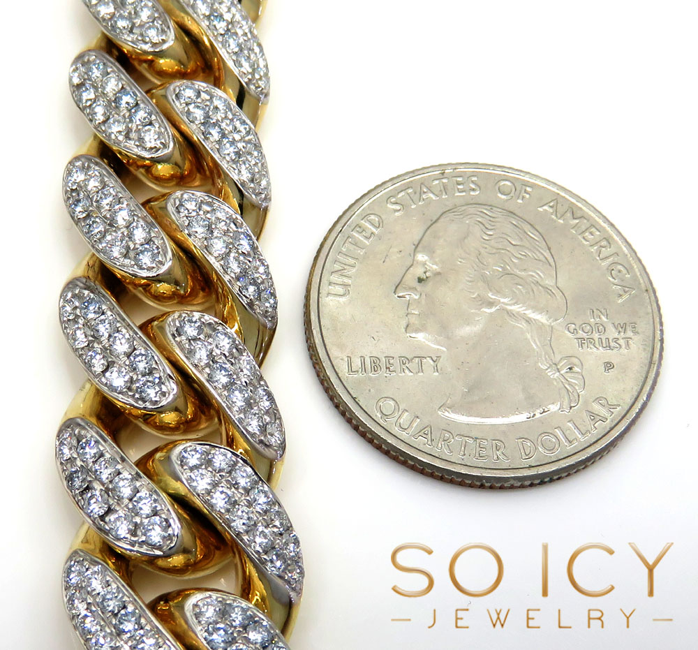 10k yellow gold two sided diamond miami chain 30 inch 14.5mm