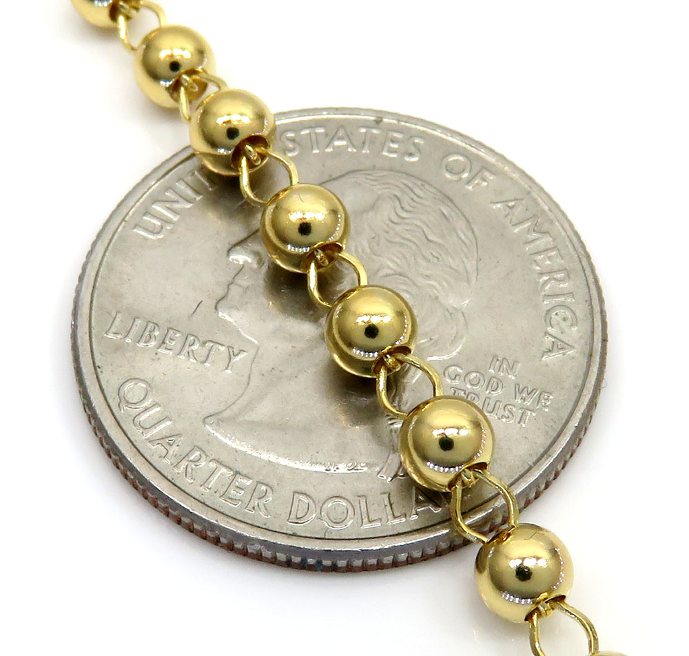 10k yellow gold smooth bead skinny rosary chain 26 inch 4mm