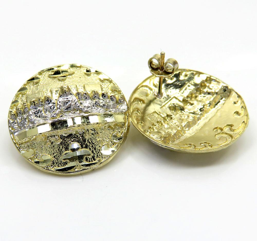 10k yellow gold two tone fancy last supper earrings