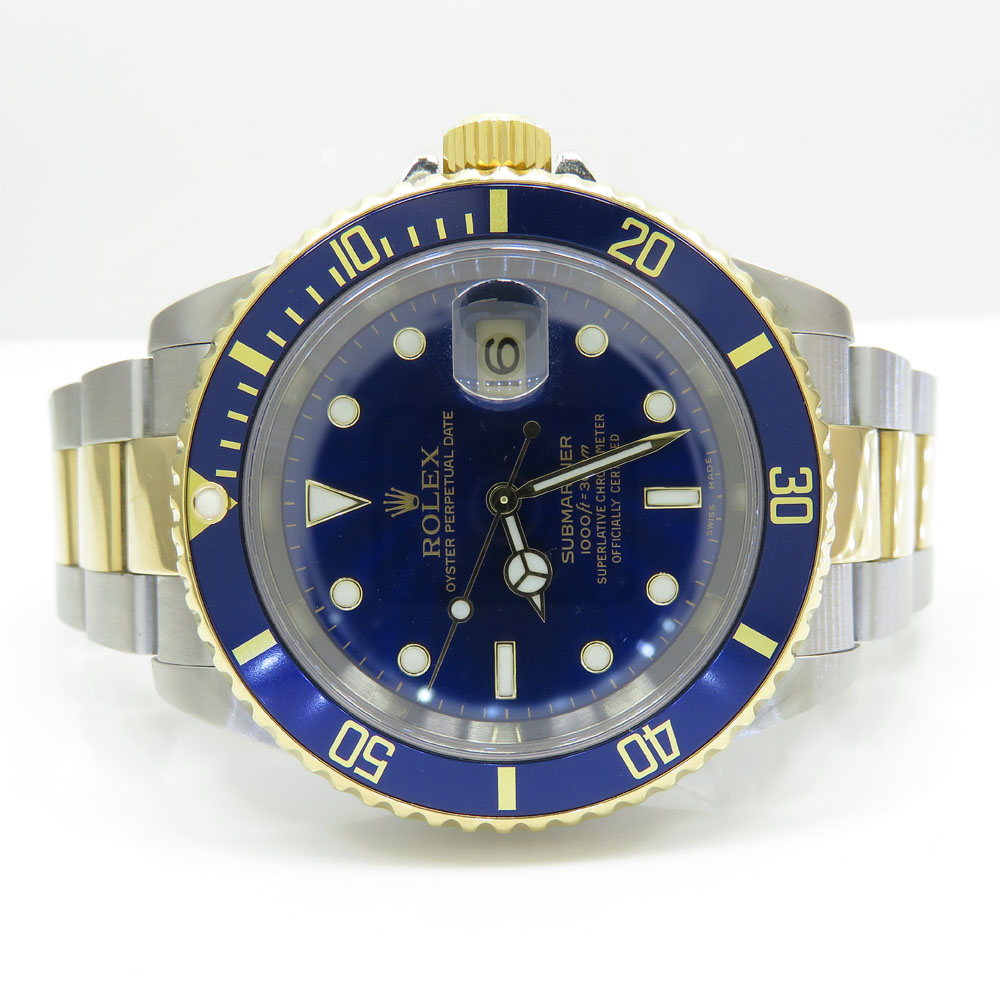 18k yellow gold and stainless steel mens rolex 40mm submariner watch