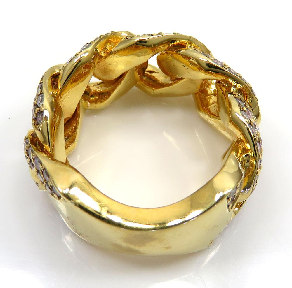 14k yellow gold fancy diamond cuban ring 3.50ct
