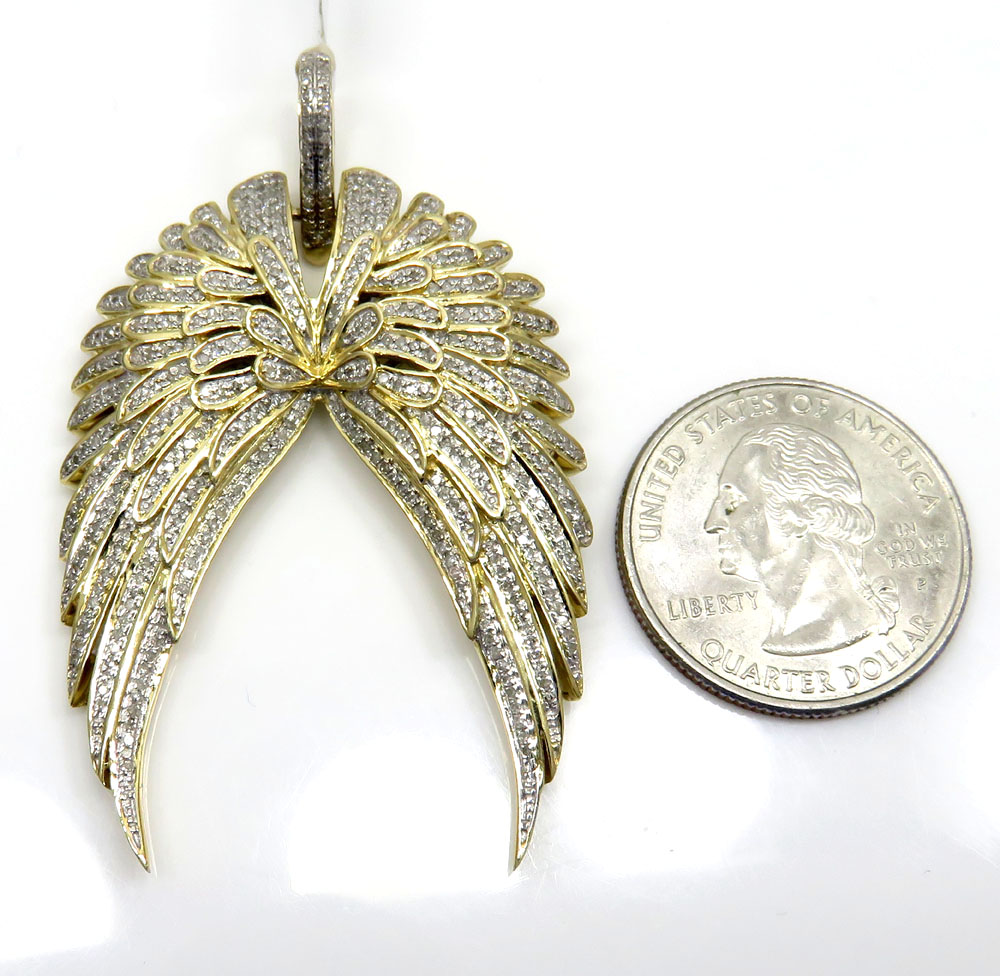 14k yellow and white gold diamond wings pendant 1.25ct
