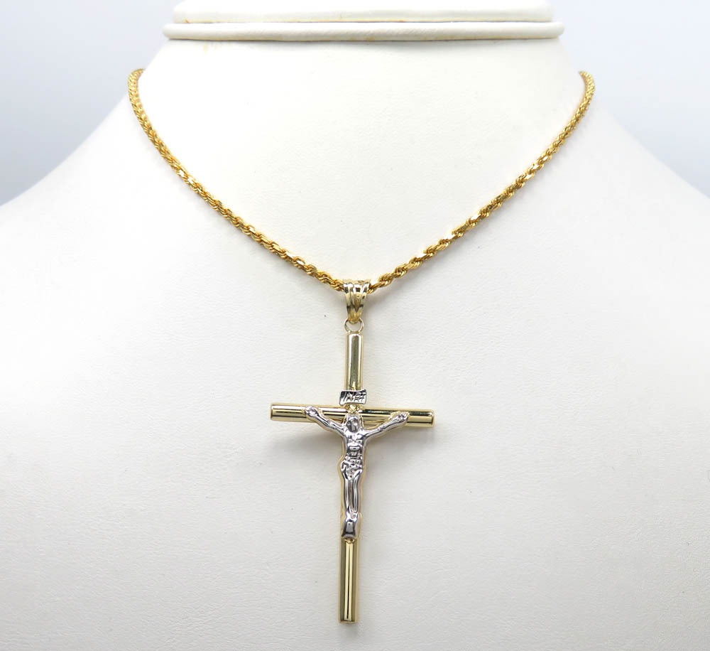 14k yellow gold long jesus tube cross pendant