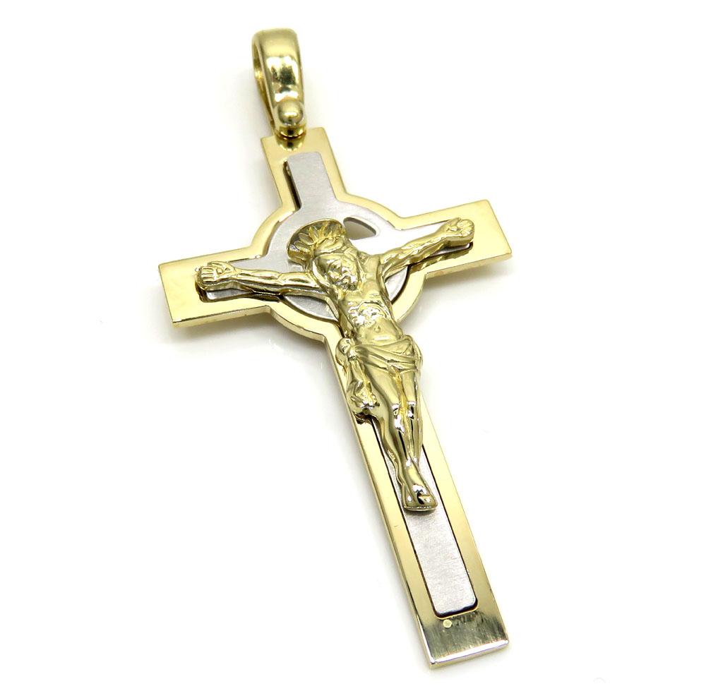 14k two tone double cross jesus pendant