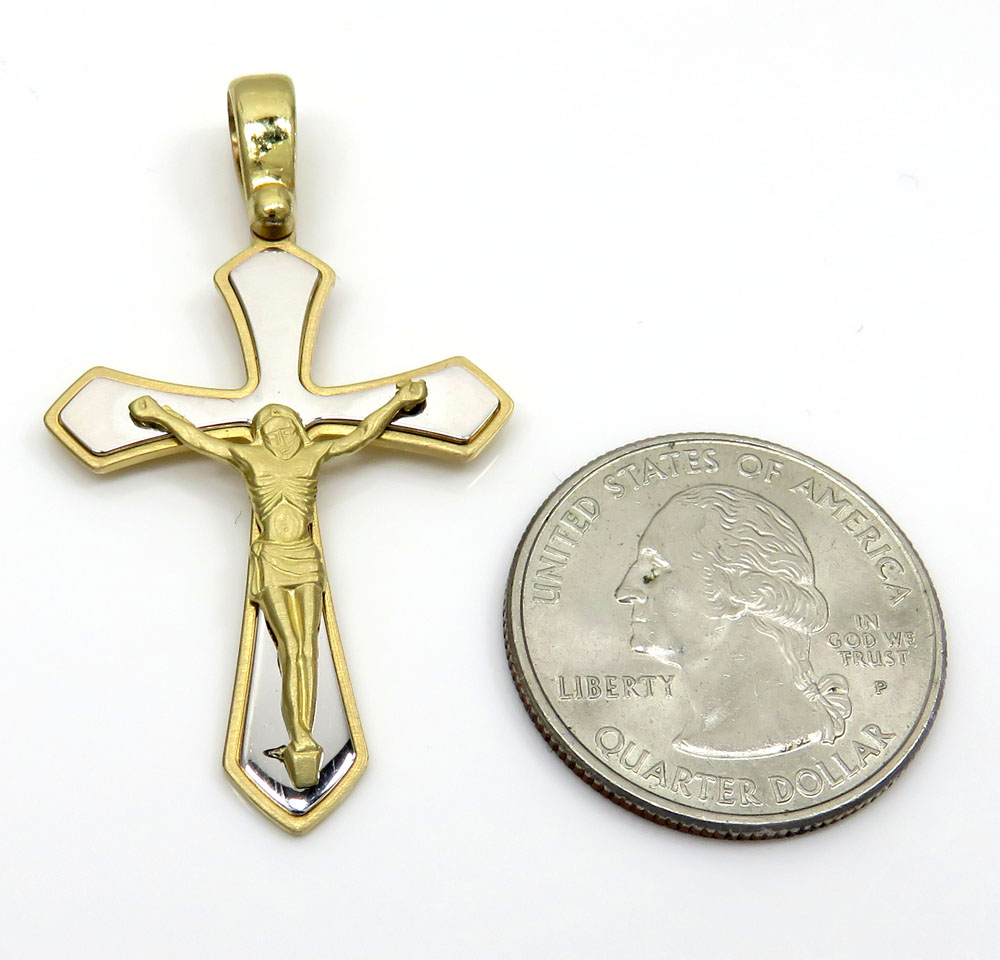 14k yellow and white gold two tone fancy edged cross