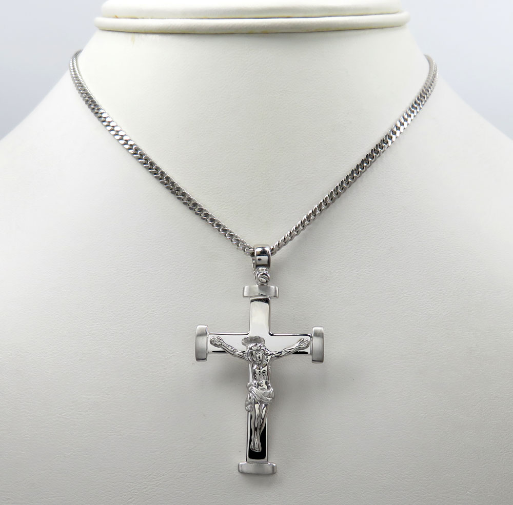 14k white gold bold italian jesus cross