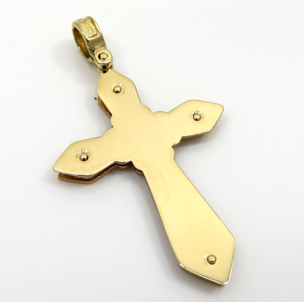 14k yellow and white gold 3d pop up cross