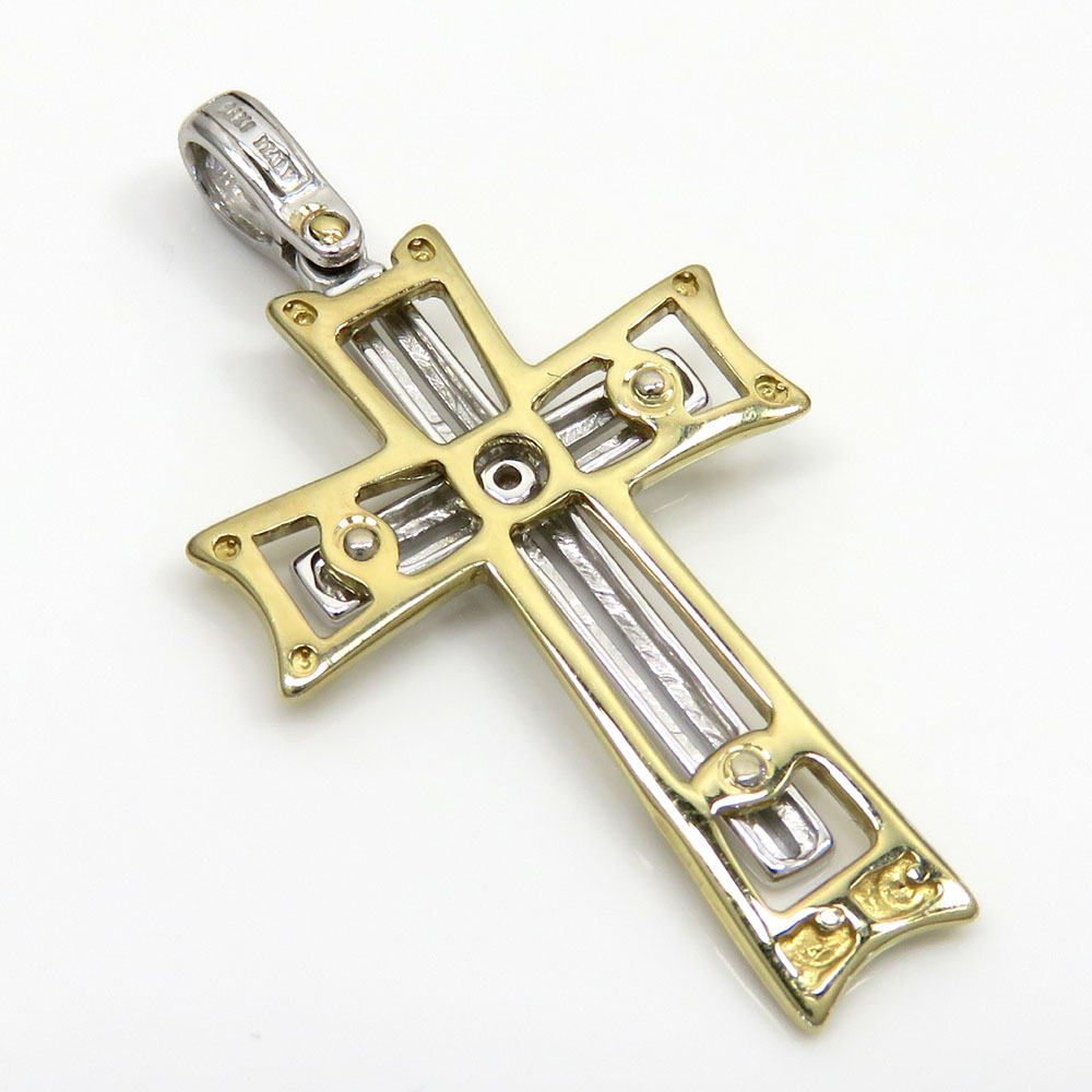 14k yellow and white gold two tone stacked cross