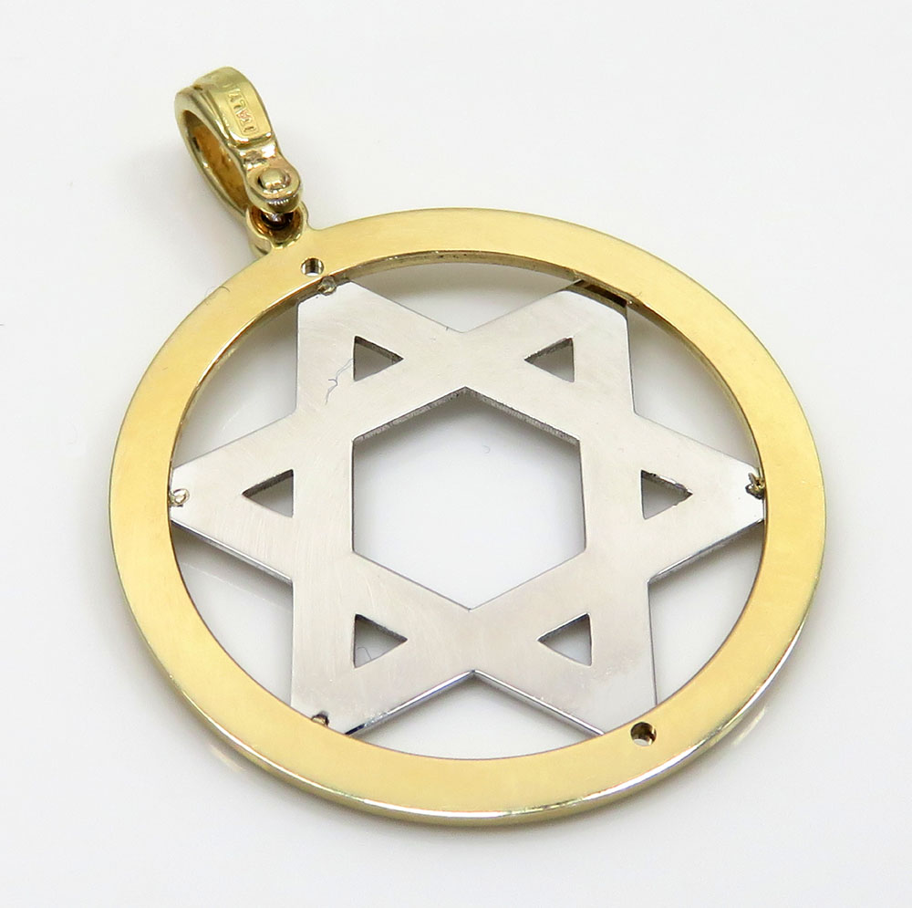 14k yellow and white gold two tone medium star of david pendant