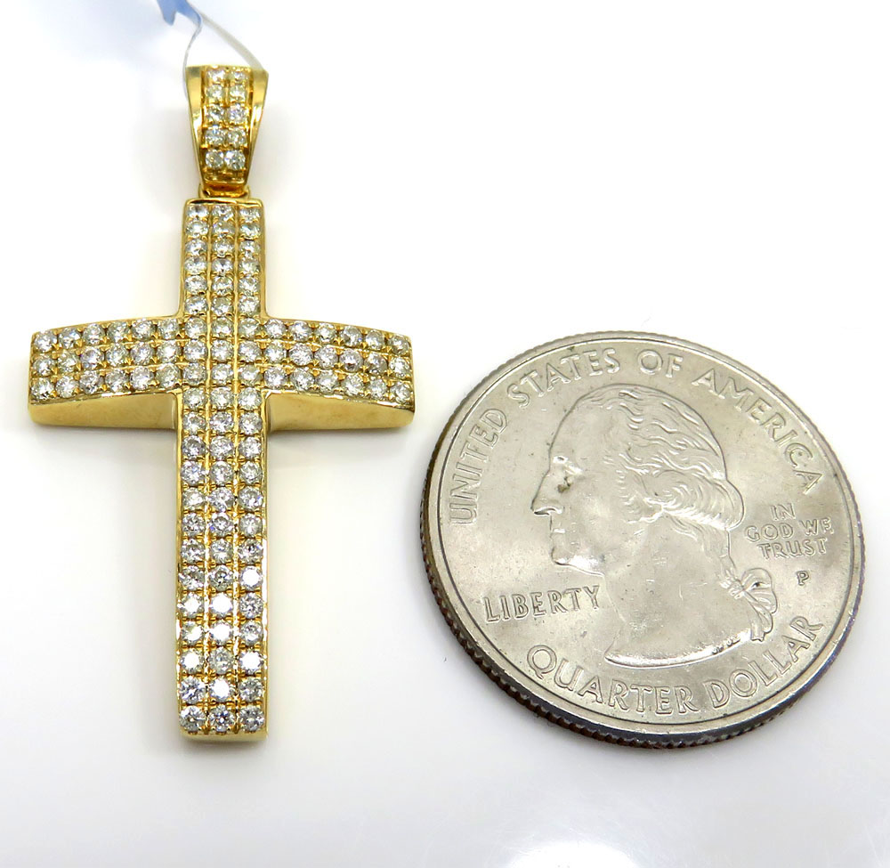 14k yellow or white gold 3x3 row vs diamond cross 1.02ct