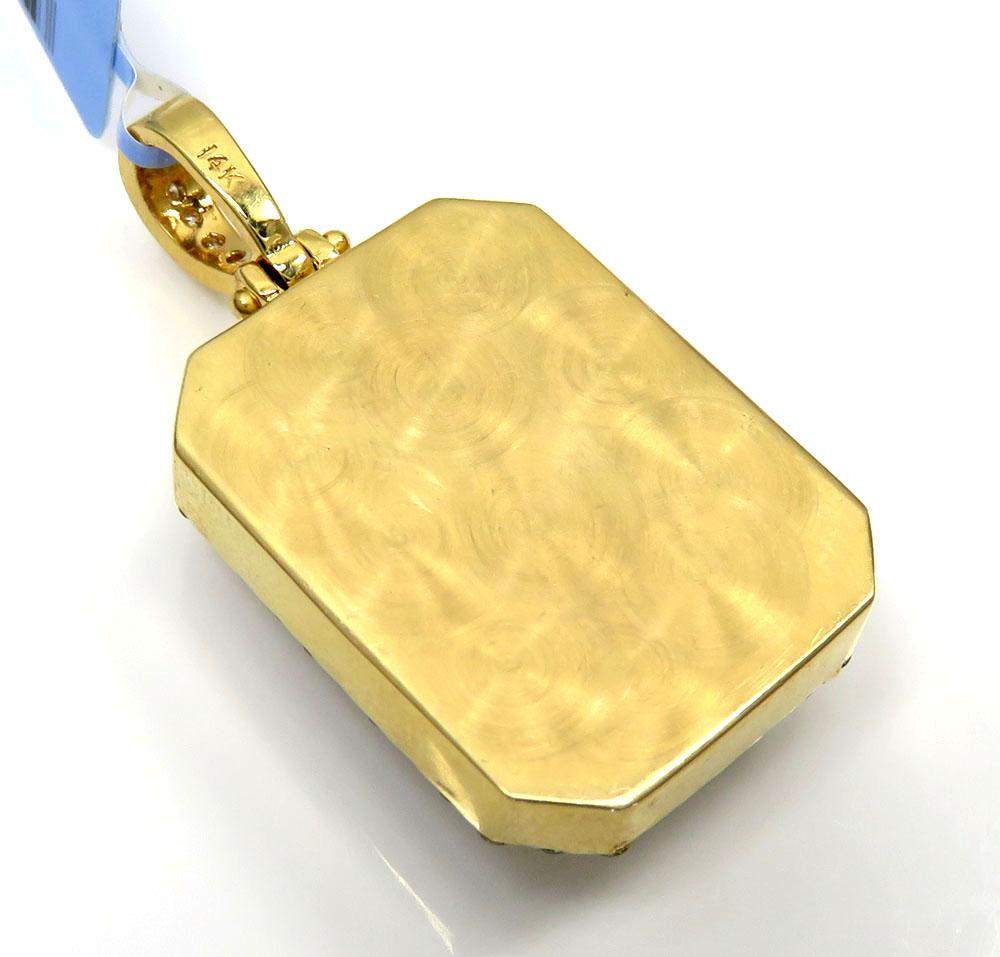 14k yellow gold fully iced diamond octagon pendant 2.70ct