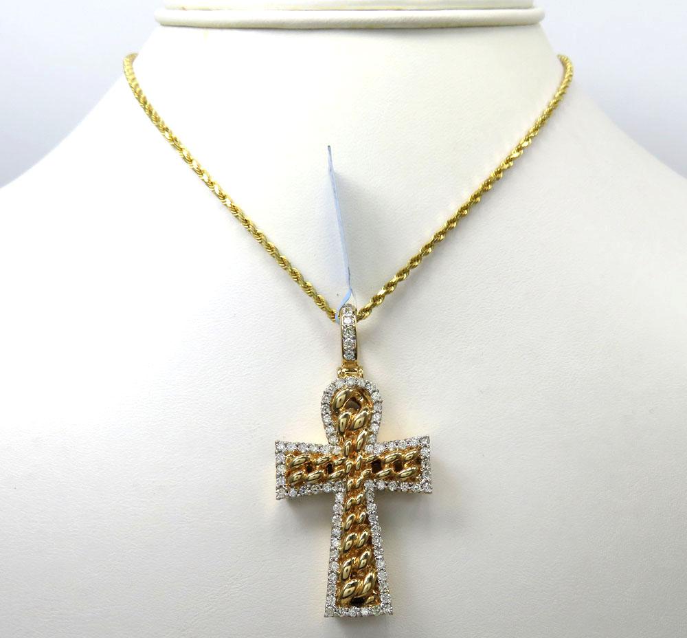 14k yellow or white gold diamond cuban cross 1.48ct