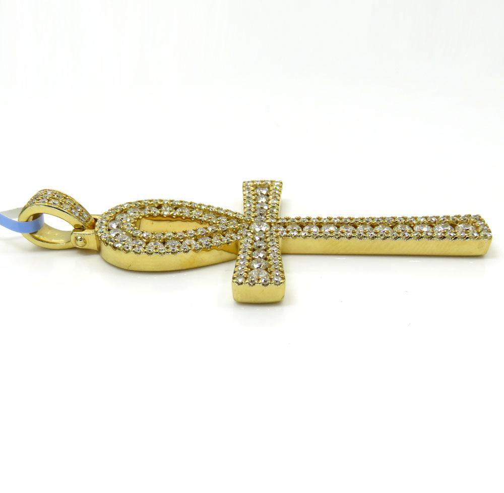 14k yellow gold slim frame diamond ankh cross 2.79ct