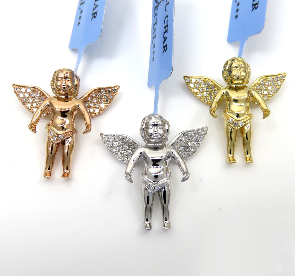 14k yellow white or rose gold mini diamond baby cherub pendant 0.11ct