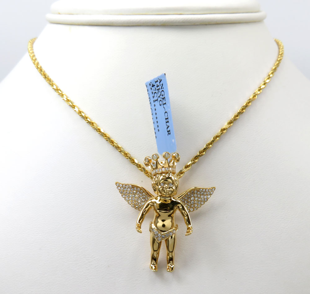 14k yellow white or rose gold crowned diamond baby cherub pendant 0.48ct