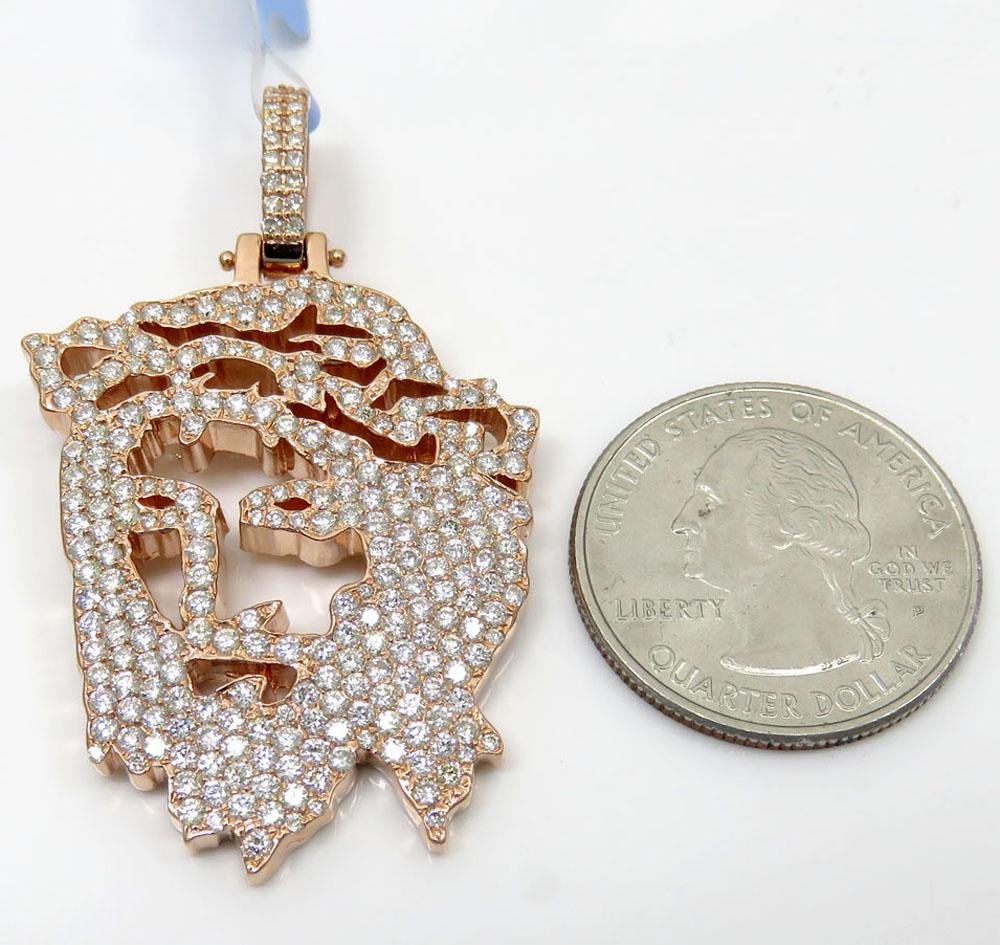 14k rose gold diamond stencil large jesus piece 3.41ct