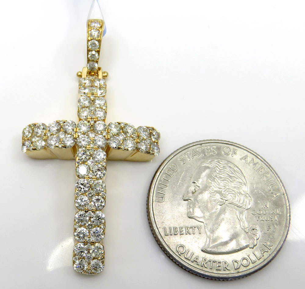 14k yellow or white gold diamond arched cluster cross 2.40ct