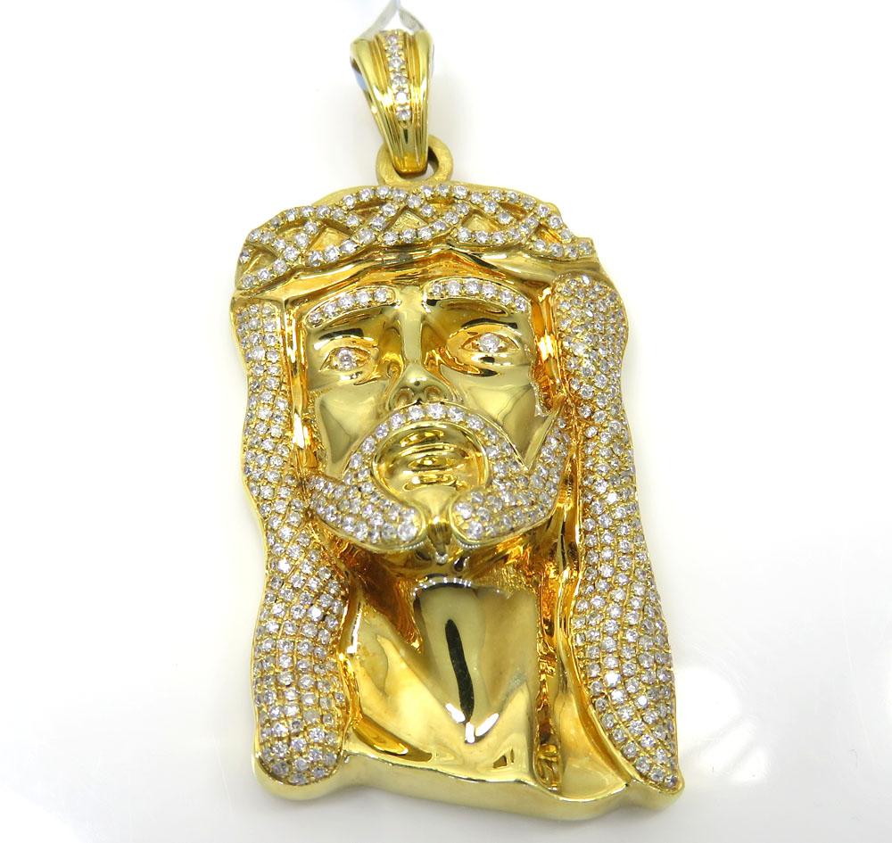 14k yellow gold diamond crowned jesus piece pendant 1.45ct