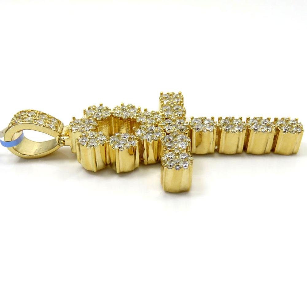 14k yellow or white gold nine diamond cluster ankh cross 5.26ct