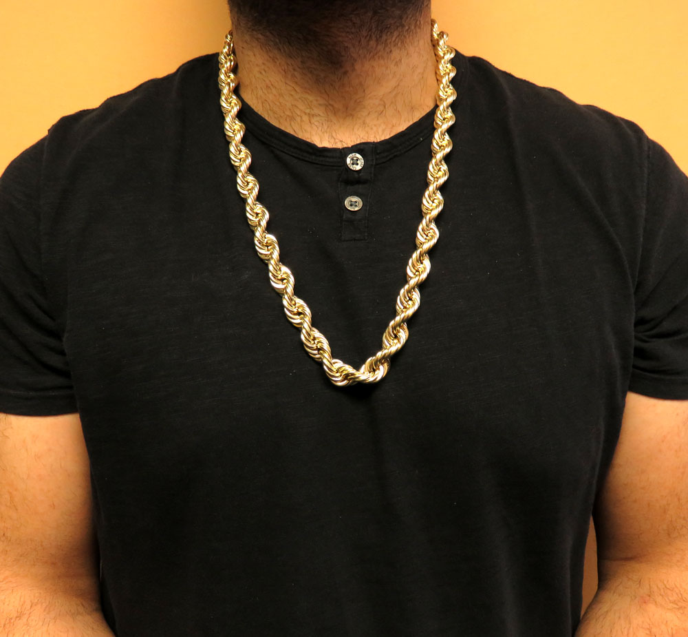 10k Yellow Gold Xl Smooth Semi Hollow Rope Chain 14mm 24