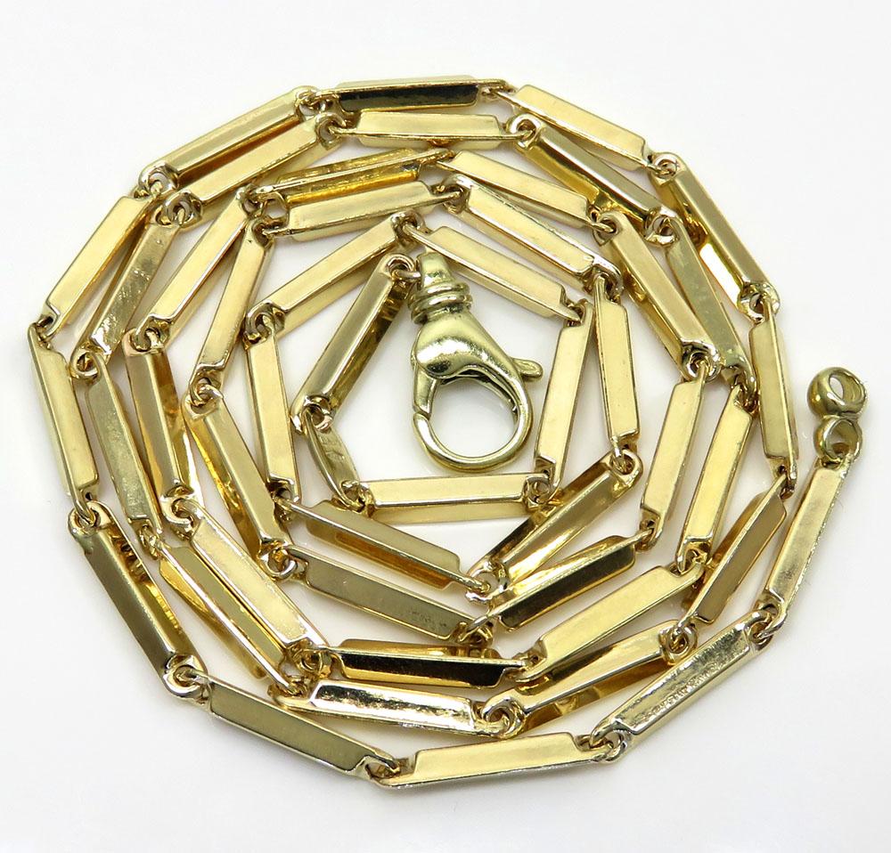 10k yellow gold fancy bullet bar chain 24-30 inch 2.6mm