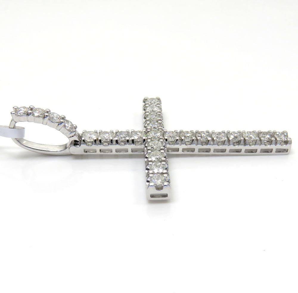 14k white gold large diamond prong cross 3.36ct