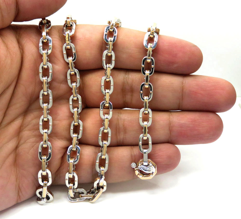 Baraka 18k two tone gold ritmika collection anchor chain 0.02ct 24 inch
