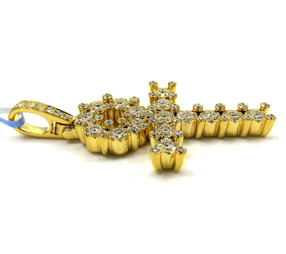 14k yellow gold diamond cluster prong ankh cross 1.10ct