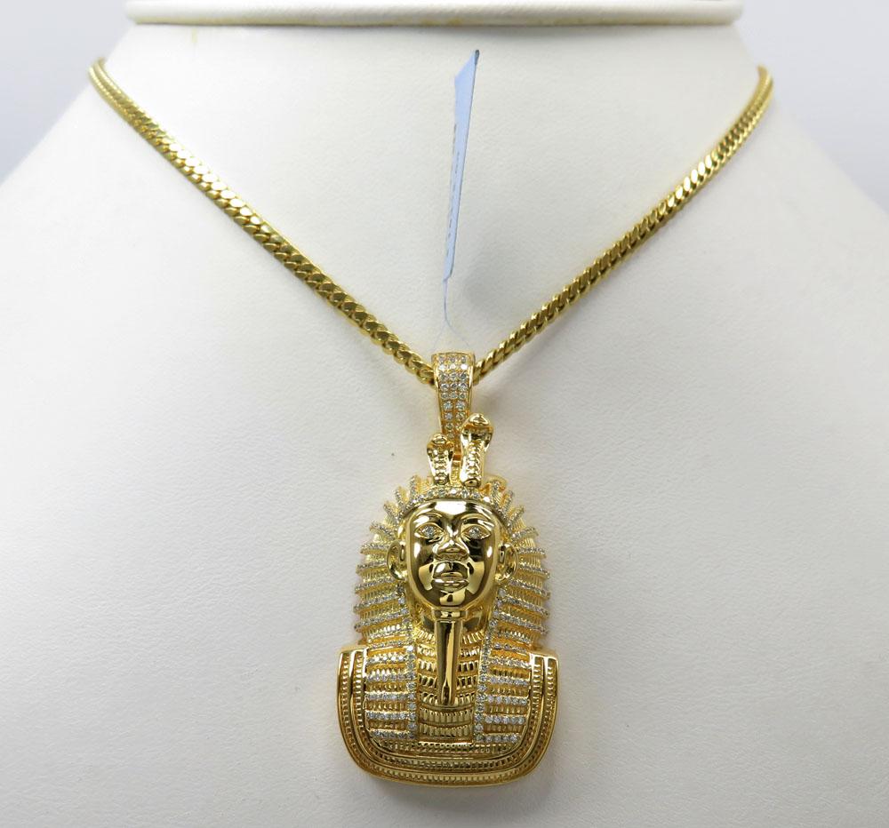14k yellow gold diamond pharaoh pendant 0.82ct