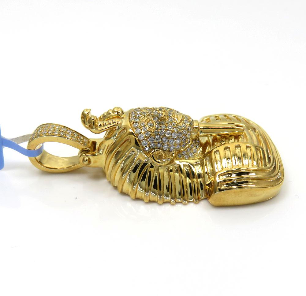 14k yellow gold diamond king tut pendant 0.59ct