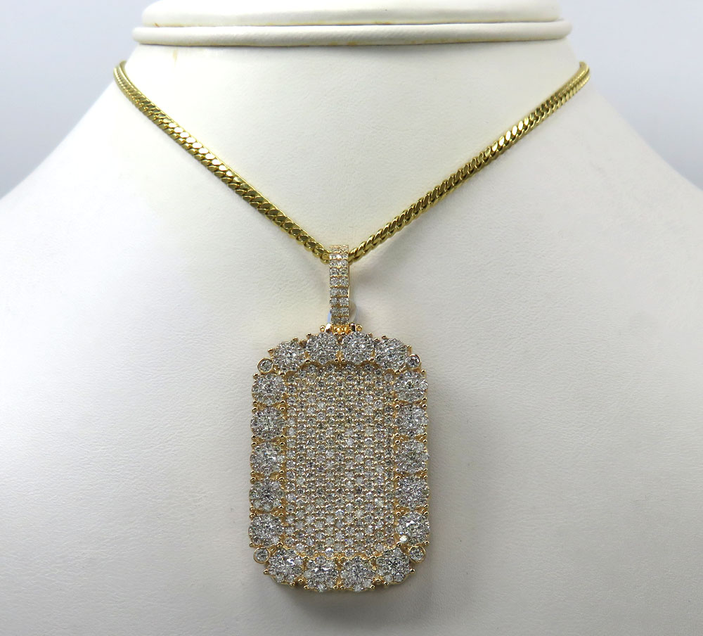 14k yellow gold fully iced out cluster dog tag pendant 4.83ct