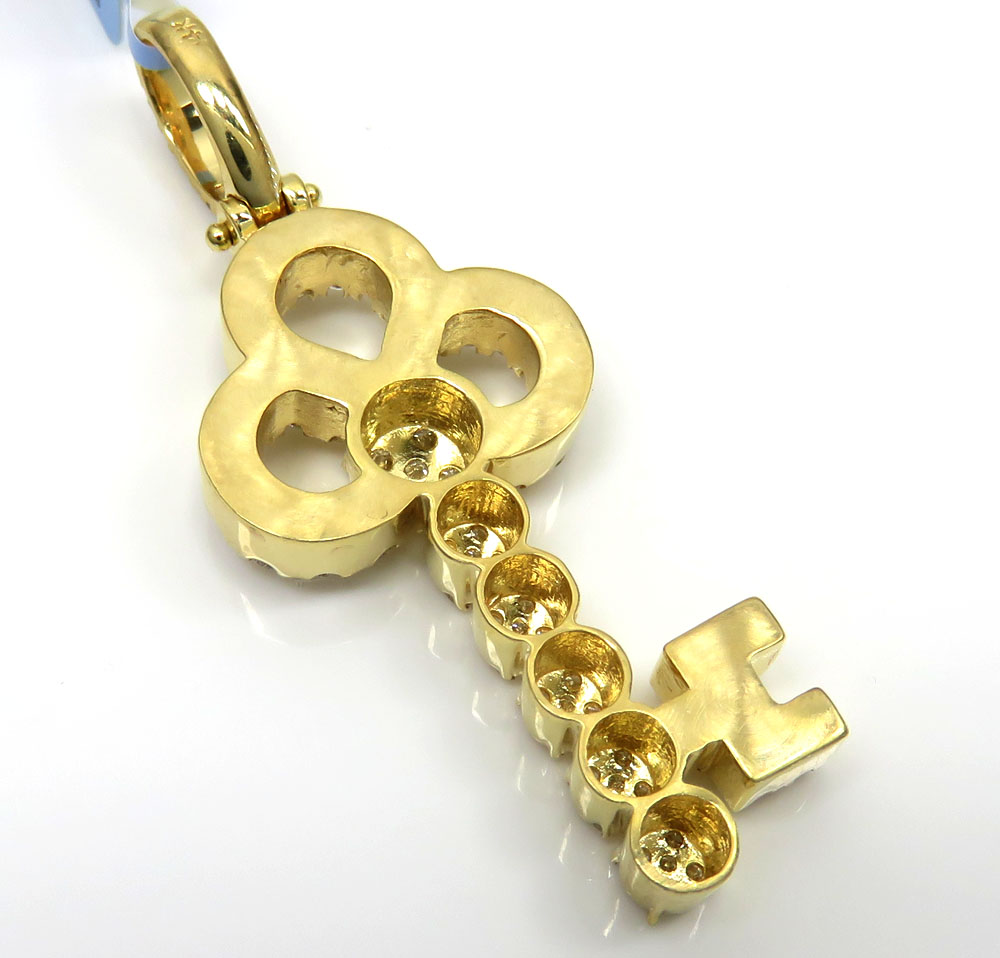 14k yellow gold medium diamond key pendant 1.44ct