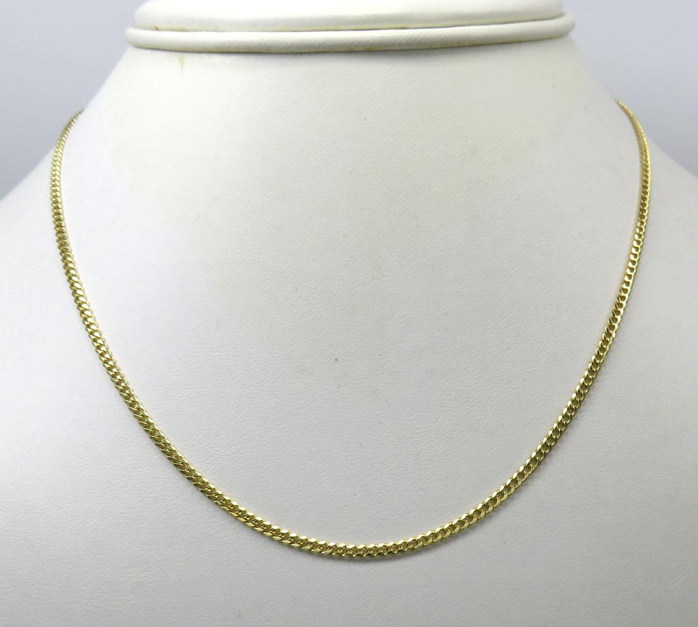 10k yellow gold solid thin miami chain 22-24