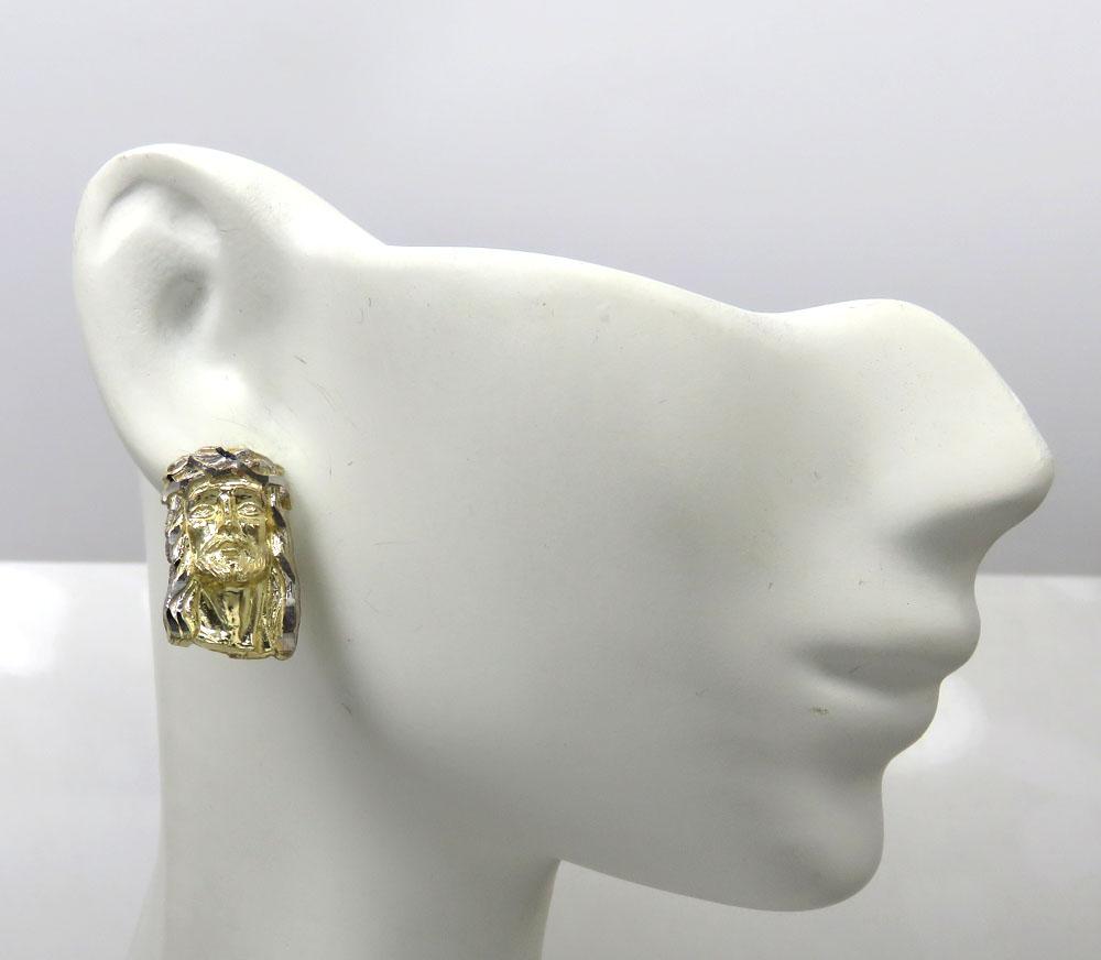 10k two tone gold medium size classic jesus face earrings