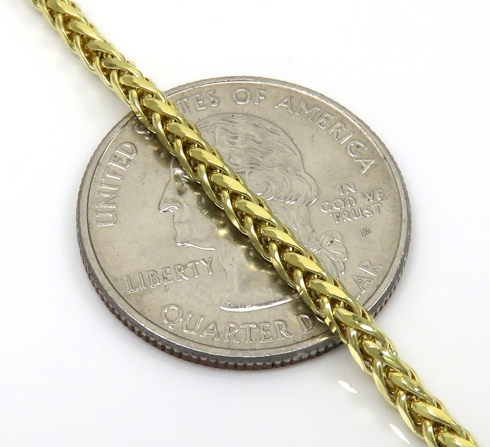 10k yellow gold skinny hollow wheat chain 20-24 inch 2.50mm