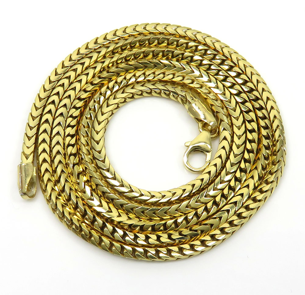 10k yellow gold solid tight franco box chain 22-26 inch 2.20mm