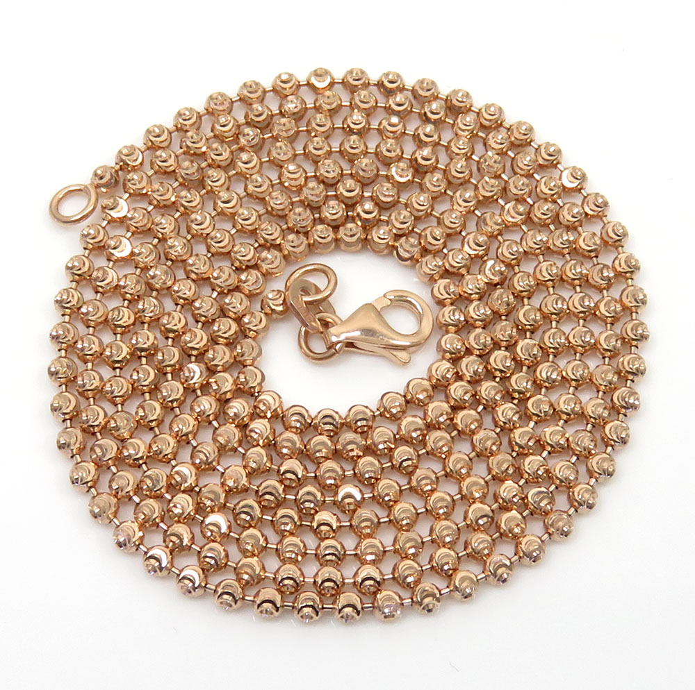 10k rose gold moon cut bead link chain 20-28 inch 2mm