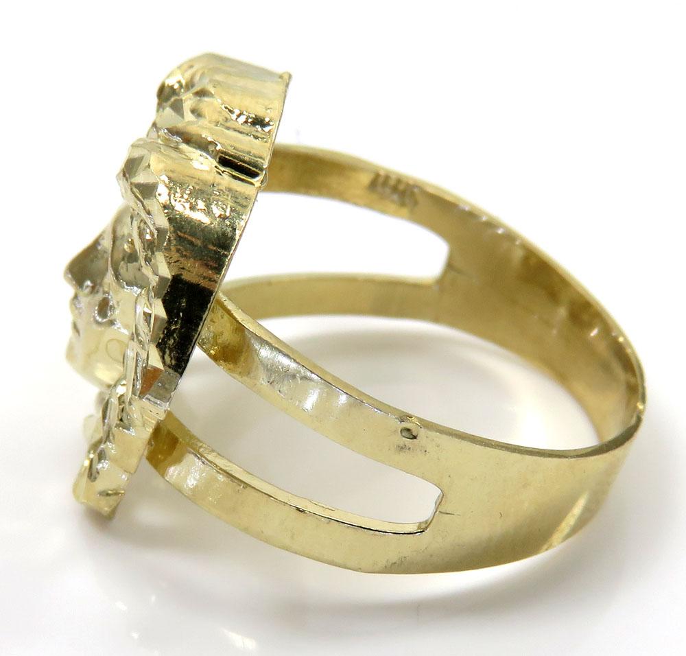 10k yellow gold medusa head split shank ring
