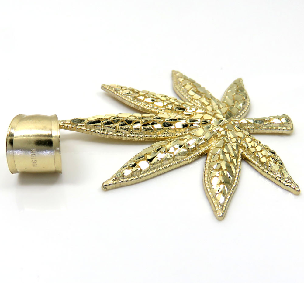 14k yellow gold nugget marijuana leaf pendant