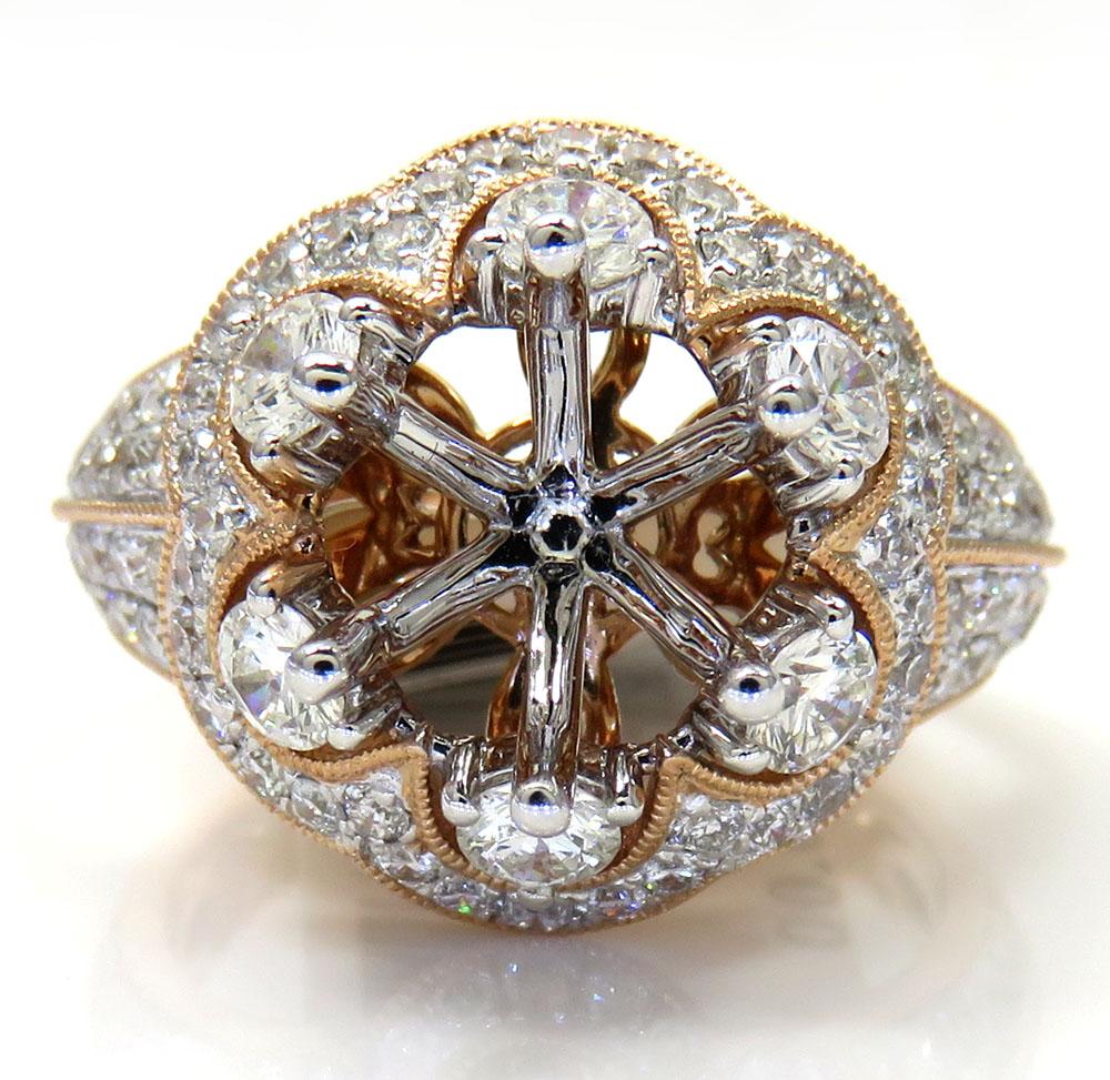 Ladies 14k rose gold round diamond semi mount ring 1.50ct