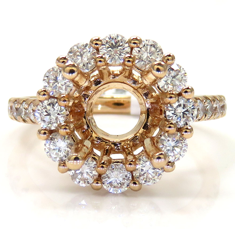 14k rose gold round diamond halo semi mount ring 1.01ct