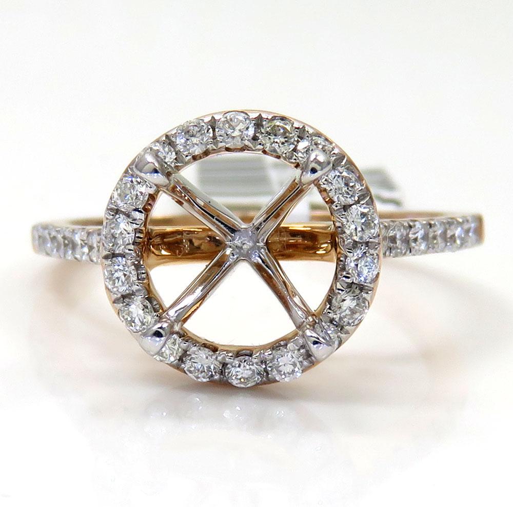 14k rose gold round diamond halo semi mount ring 0.41ct