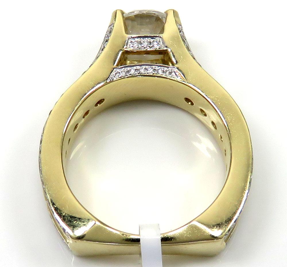 Ladies 14k yellow gold round white diamond semi mount ring 1.57ct