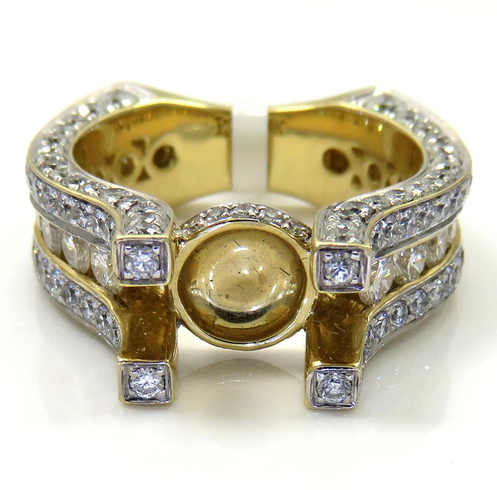Ladies 14k yellow gold round white diamond semi mount ring 3.10ct