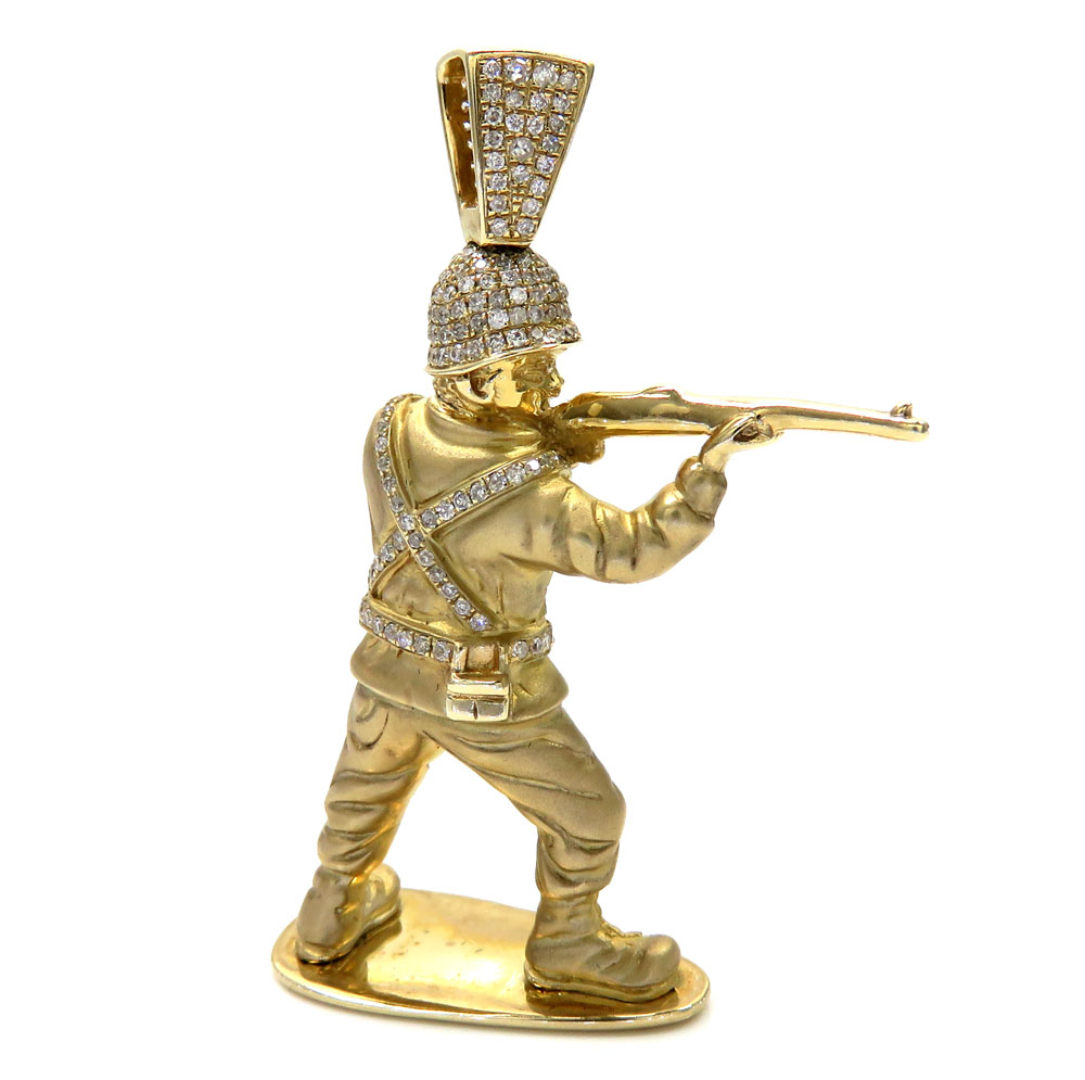 10k solid yellow gold diamond toy soldier pendant 0.61ct