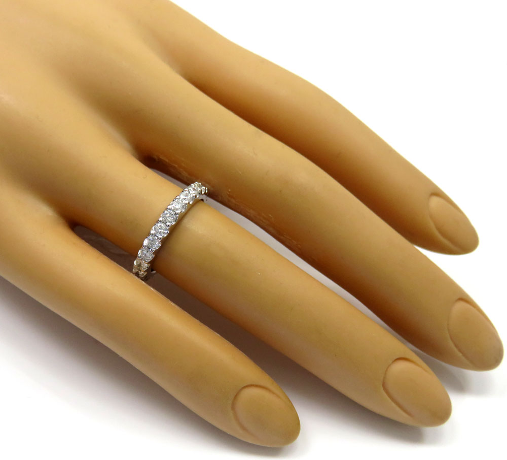 14k white gold single row eternity diamond wedding band 1.30ct